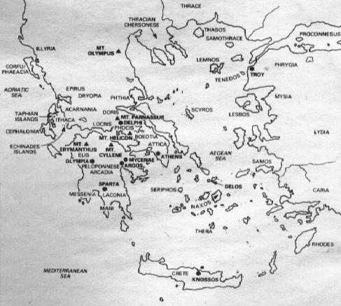 Ancient Greece Map With Cities.Map And Information Of The Ancient Greek Myth World